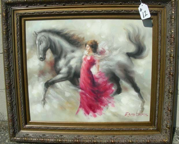 12: OIL ON CANVAS: PORTRAIT OF YOUNG WOMAN WITH HORSE
