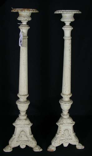 14: PAIR OF HEAVY CAST IRON TRI-FOOTED CANDLESTICKS