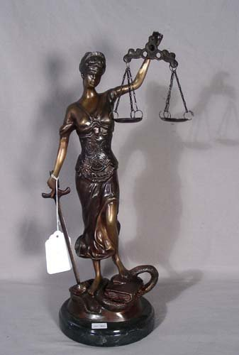 "15: BRONZE SCULPTURE ""SCALES OF JUSTICE"""