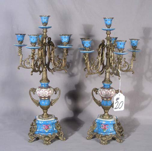 20: PAIR FRENCH STYLE PORCELAIN AND ORMOLU CANDELABRA
