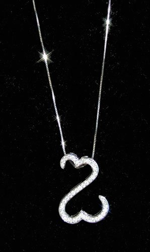 23: LADIES 14K WHITE GOLD & DIAMOND OPEN HEART NECKLACE