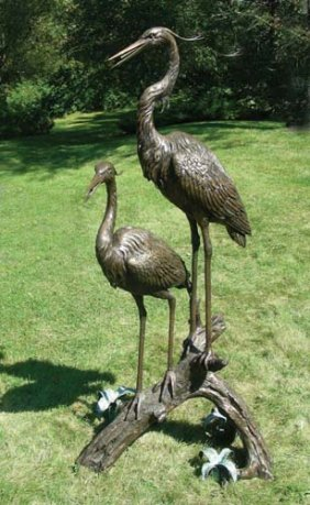VERY FINE BRONZE SCULPTURE/FOUNTAIN OF TWO CRANES
