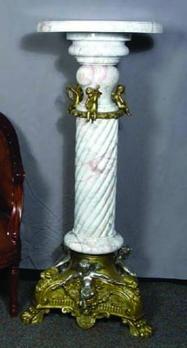 55A: FRENCH MARBLE AND BRONZE ORMOLU PEDESTAL