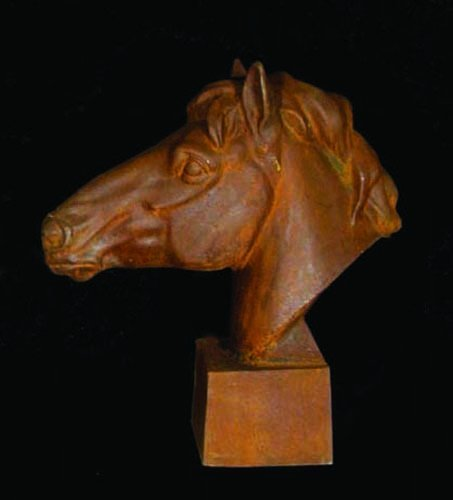 58B: HEAVY OLD CAST IRON BUST OF HORSE