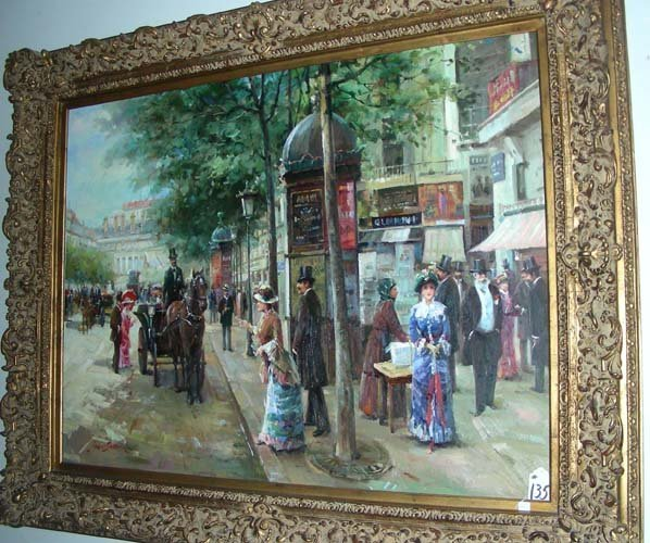 135: BEAUTIFUL OIL ON CANVAS OF PARISIAN STREET SCENE