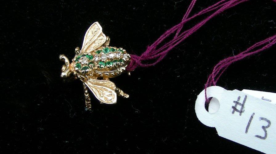 13: LADIES 14K YELLOW GOLD, TSAVORITE GARNET AND DIAMON