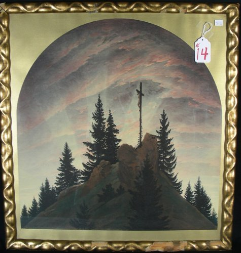"""14: LATE 19TH CENTURY COLORED LITHOGRAPH """"CROSS IN THE"""