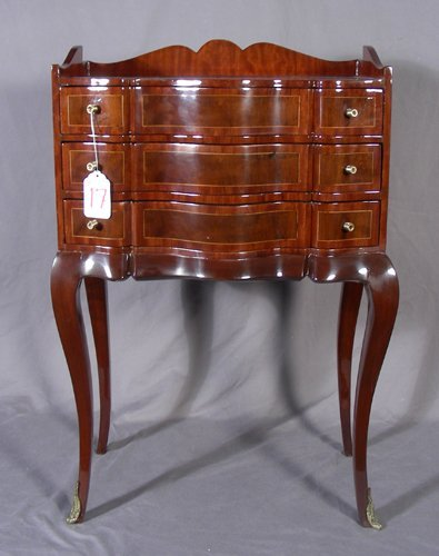 17: ELEGANT FRENCH STYLE THREE DRAWER INLAID SIDE TABLE