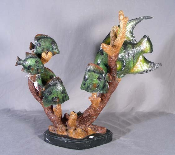 "50: BRONZE SCULPTURE ""TROPICAL FISH"""