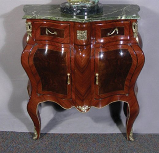 60A: FRENCH STYLE WOOD AND ORMOLU COMMODE WITH MARBLE T