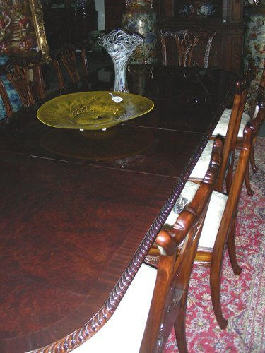 61: HAND CARVED ENGLISH BURL WOOD DINING ROOM TABLE WIT
