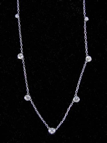 """73: LADIES 14K WHITE GOLD """"DIAMOND BY THE YARD"""" NECKLAC"""