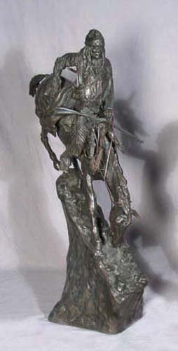 """75: BRONZE SCULPTURE """"THE MOUNTAIN MAN"""" AFTER FREDERIC"""