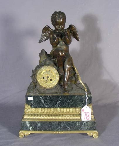 78: 19TH CENTURY BRONZE AND MARBLE MANTLE CLOCK