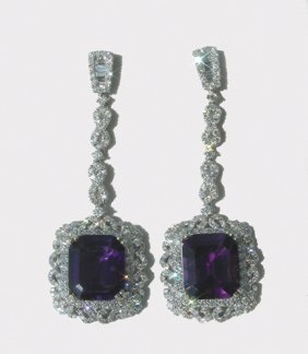 PAIR LADIES 18K WHITE GOLD, AMETHYST AND DIAMOND EA