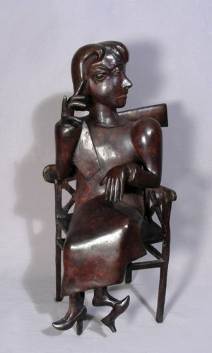 """88: UNUSUAL, HEAVY, PICASSO STYLE BRONZE """"GIRL SEATED I"""