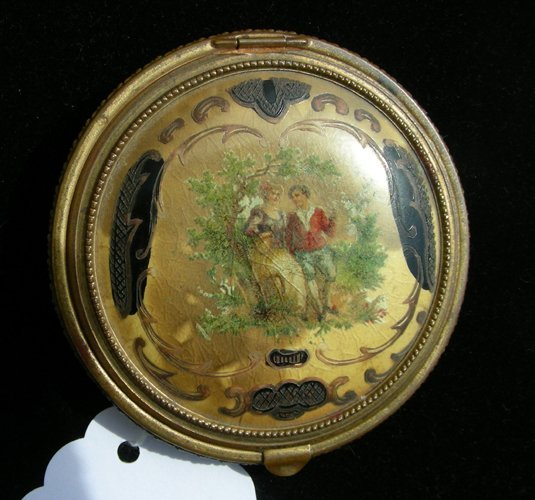 93: ANTIQUE HAND PAINTED FRENCH METAL COMPACT