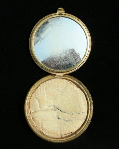 93: ANTIQUE HAND PAINTED FRENCH METAL COMPACT - 3