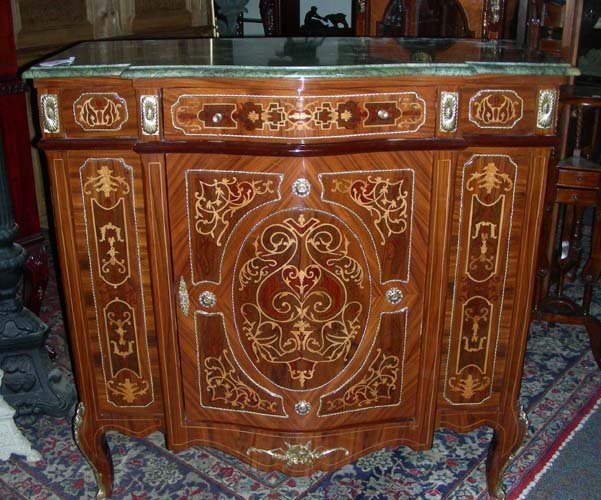 104: LOUIS XVI STYLE INLAID CHEST W/ MARBLE TOP