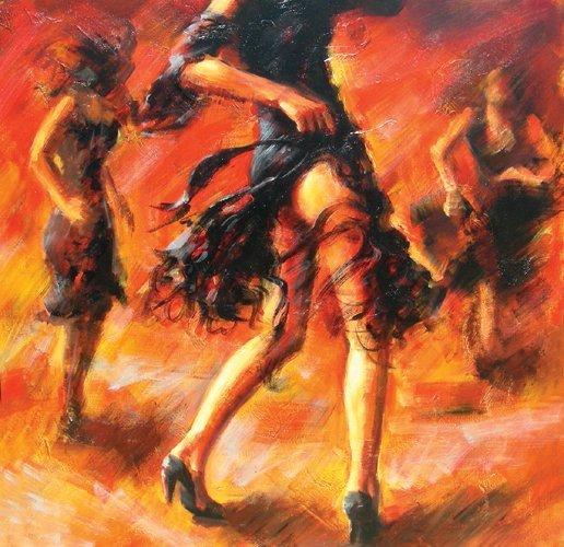 105: BEAUTIFUL OIL ON CANVAS: DANCERS