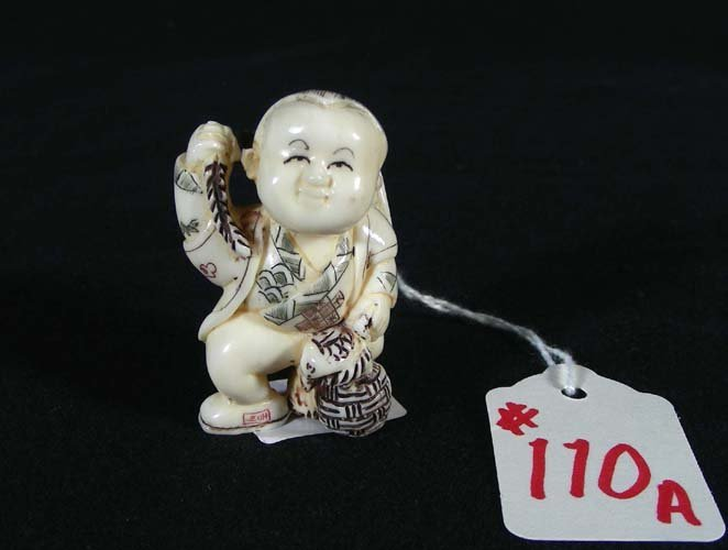 110A: CHINESE CARVED IVORY NETSUKE