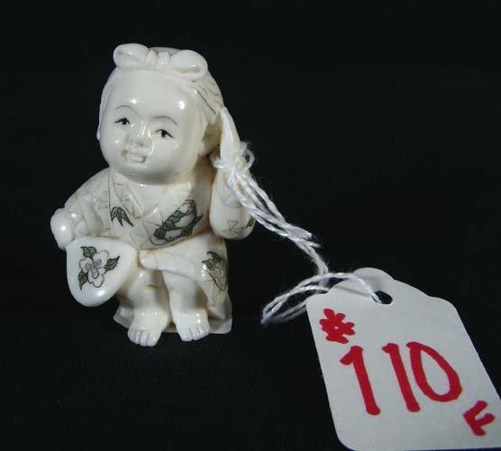 110F: CHINESE CARVED IVORY NETSUKE
