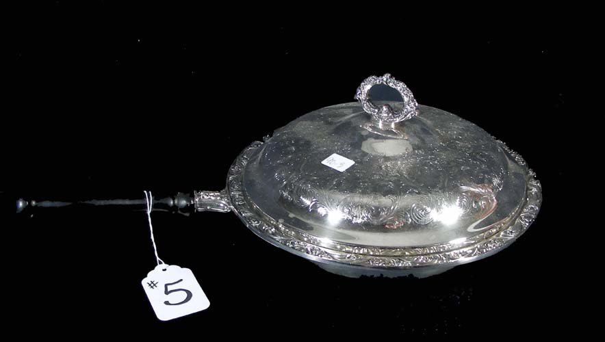 5: OLD SILVER PLATED CHAFING DISH