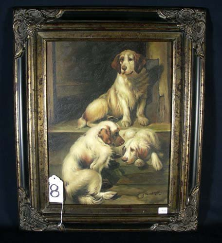 8: OIL ON CANVAS: DOGS