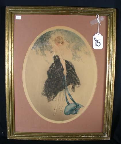 """15: LOUIS ICART (1888-1950) FRENCH - ART DECO PRINT """"BL"""