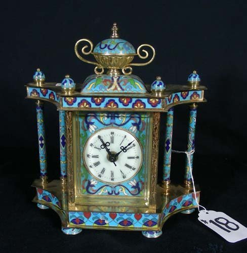 18: CHINESE CLOISONNE AND BRASS MANTLE CLOCK