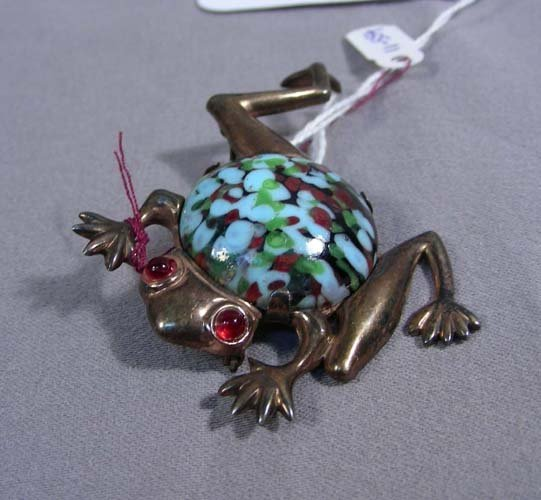3: OLD STERLING SILVER AND STONE FROG BROOCH