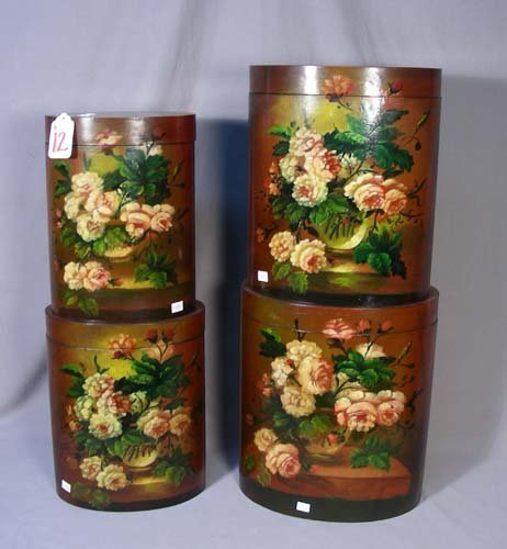 12: GROUP OF FOUR HAND PAINTED OVAL BOXES WITH LIDS
