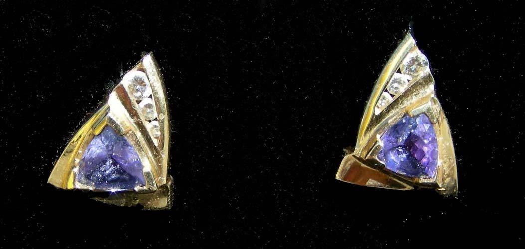 13: PAIR LADIES 14K YELLOW GOLD, TANZANITE AND DIAMOND