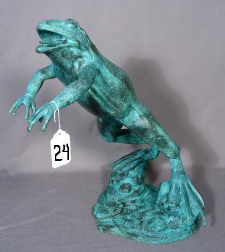 24: BRONZE SCULPTURE/FOUNTAIN OF LEAPING FROG