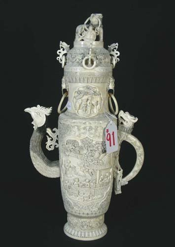 91: LARGE CHINESE HAND CARVED IVORY EWER