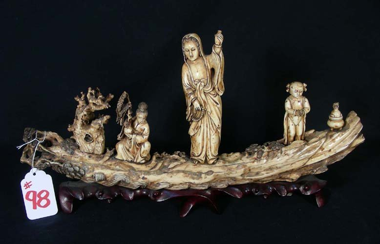 98: OLD HAND CARVED CHINESE IVORY TUSK WITH FIGURES