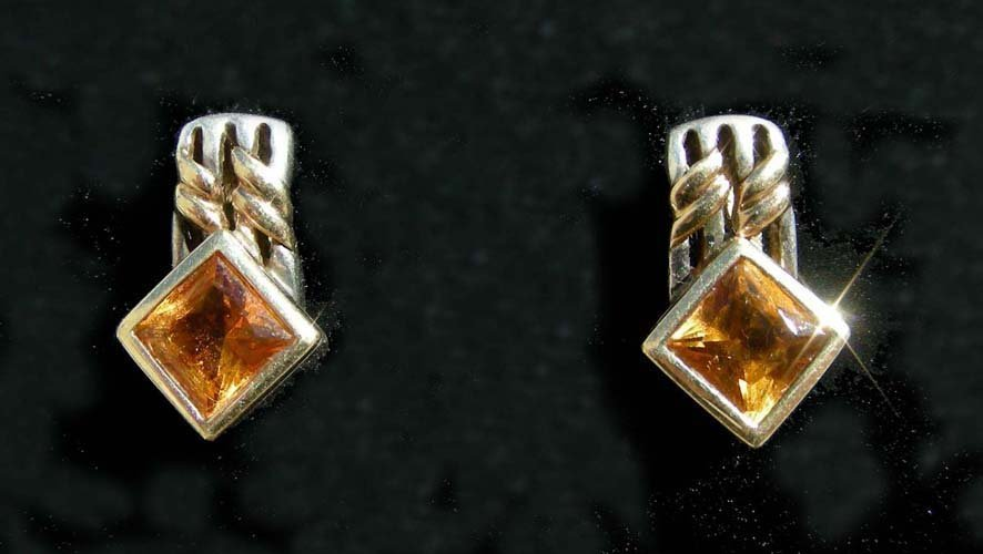 2: PAIR 18K YELLOW GOLD, STERLING AND CITRINE EARRINGS