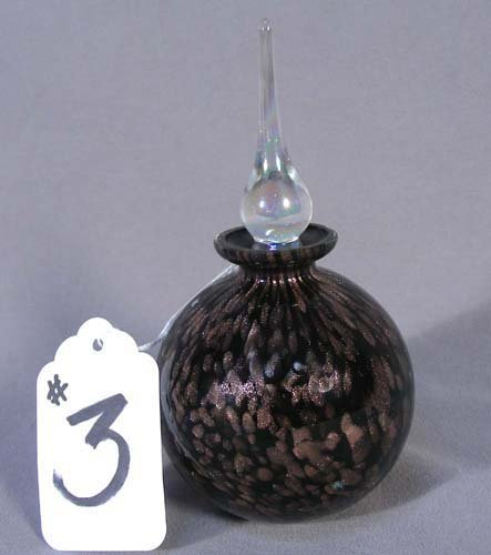 3: HAND BLOWN ART GLASS PERFUME BOTTLE