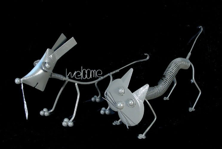 4: PAIR MOTION METAL ANIMAL SCULPTURE