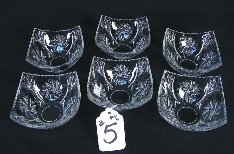 5: GROUP OF SIX CUT CRYSTAL DESSERT BOWLS