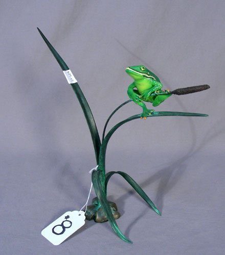 8: BRONZE FROG ON A CATTAIL SCULPTURE