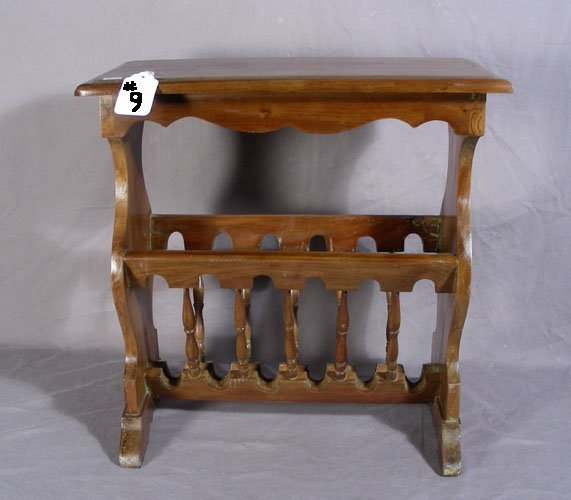 9: HAND CARVED MAHOGANY MAGAZINE RACK