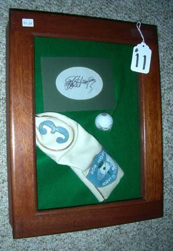 11: OLD SHADOW BOX OF BOB HOPE MEMORABILIA