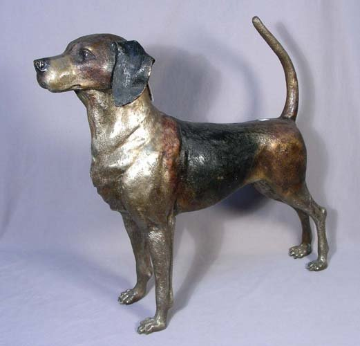 20: BRONZE SCULPTURE OF STANDING DOG
