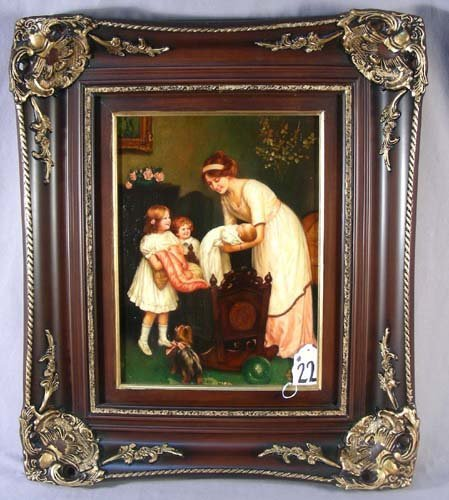 22: FINE OIL ON BOARD: MOTHER AND CHILDREN