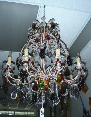 VERY UNUSUAL MULTI COLORED CRYSTAL CHANDELIER WITH