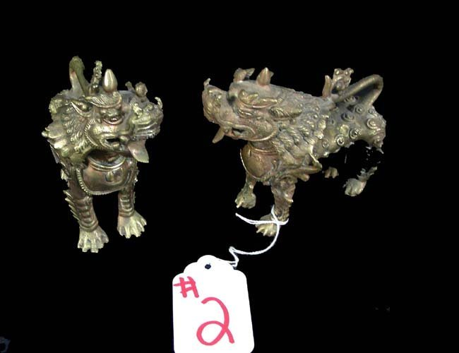 2: PAIR OLD HEAVY BRASS ORIENTAL GUARD DOGS