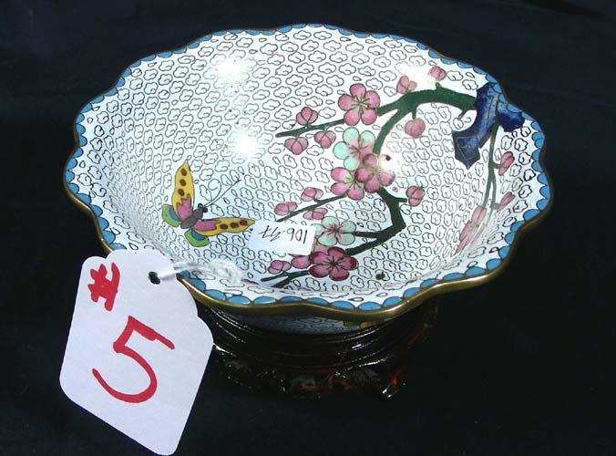 5: CHINESE CLOISONNE SCALLOPED BOWL