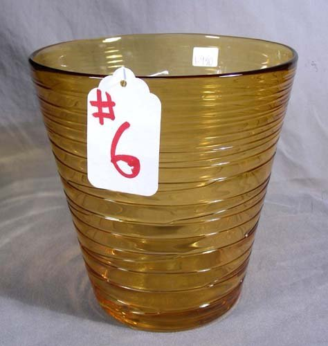 6: CONTEMPORARY ART GLASS AMBER ICE BUCKET
