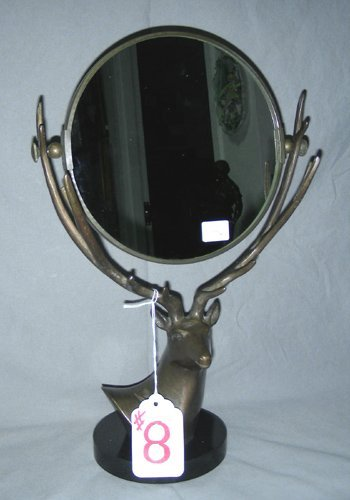 8: BRONZE DEER MOTIF MIRROR